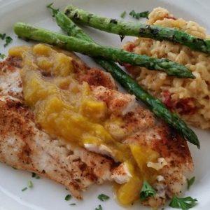 dish with asparagus